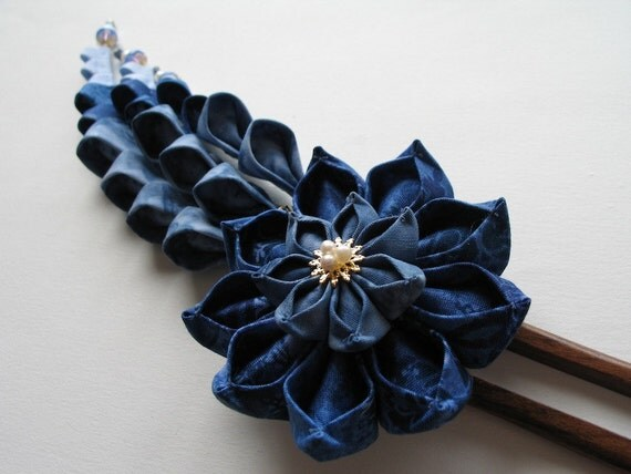 Summer's Sky Kanzashi Hair Fork in Blue