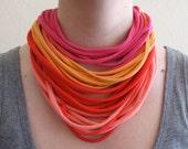 Warm Colors Colorblock Fabric Necklace