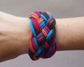 Fabric Bracelet - Brown, Orange, Magenta, Purple, and Turquoise T-Shirt Bracelet -  Braided Bracelet - Eco Friendly