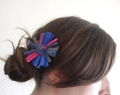 Pink, Cobalt Blue, and Gray Flower Barrette - Made From T-Shirts - Eco Friendly