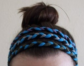 Fabric Headband - Braided Headband - Turquoise and Black -  Made From T-Shirts
