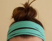 Knit Headband - Seafoam Green and Gray Headband - Fabric Headband - T-Shirt Hair Accessory