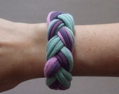 Fabric Bracelet - Braided Bracelet- Purple, Lavender, Light Blue, and Seafoam Green -  Chunky T-Shirt Braided Bracelet