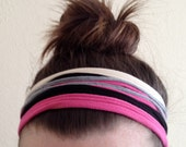 Multi Color Headband - Hot Pink, Black, and Gray Headband - T-Shirt Headband - Pink Headband - Fabric Headband