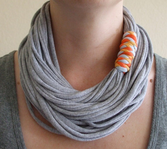Fabric Necklace - Gray T-Shirt Necklace - Recycled T-Shirt - Infinity Necklace - Orange, Blue, and Yellow Binding - Eco Friendly