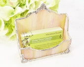 Business Card Holder in Yellow and Pink  Wispy