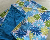 Blue and Green Daisies Large Flannel Swaddler