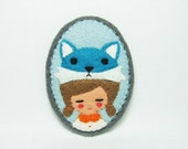 Mr. Fox (teal flavour) and girl felt pin