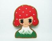 SALE Mushroom girl - imaginary forest felt pin
