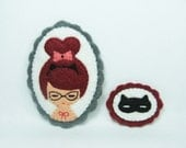 Girl and her imaginary cat felt pins