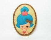 SALE Teal head girl - imaginary cheeky apple felt pin