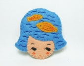 44% SALE Fantasia Cookie Girl Head Felt Brooch/ Girl Head Pin / Tiny Felt Goldfish Brooch/ Cute Sea Girl Felt Pin / Goldfish Girl Pin