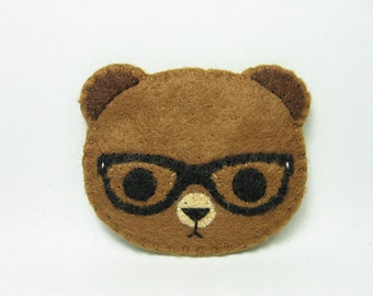 Nerdy teddy felt pin - made to order