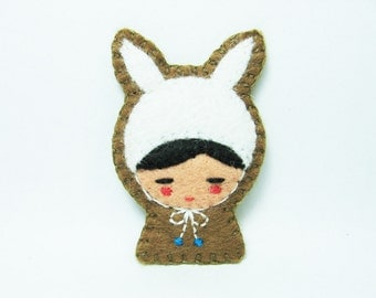 Rabbit disguise felt pin - made to order