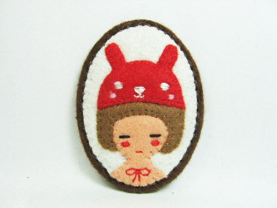 SALE A Red Bunny and a Girl felt pin