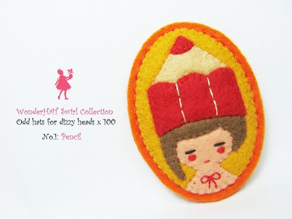 A Girl with a Red Pencil hat felt pin - WonderHAT Swirl Collection -