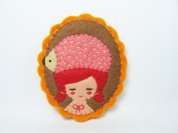 A Girl with a Hedgehog hat felt pin - WonderHAT Swirl Collection