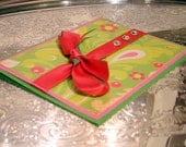 Handmade Card - Any Occassion - Pink & Green Paisley - Blank Inside - Shipping Included