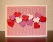 Handmade Valentine Card - Raised Pink & Red Hearts - Blank Inside - Shipping Included