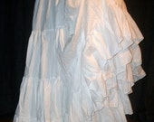 Maxi Skirt White Cotton Tiered Country Western Petticoat for Wedding, Steampunk, Victorian, super full