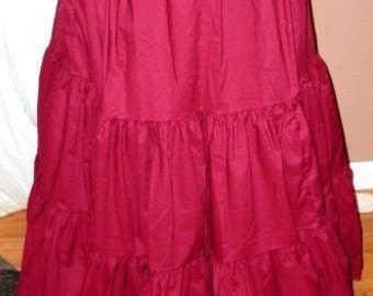 Strumpets Delight Bon Petite Long Burgundy Wine Maroon Ten Yard Hem Cotton Tier Gypsy Skirt Victorian mourning petticoat Very Modest