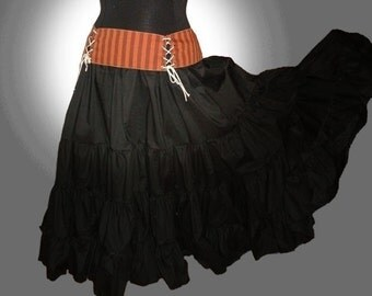 Maxi Skirt Black Cotton, Petticoat, Lagenlook, Steampunk, Western, Country, Bridal