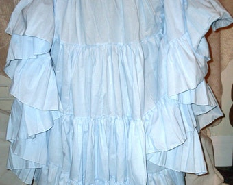 Long Powder Sky Baby Blue 25 Yard Hem Cotton Maxi bridal wedding Tier Mori Girl Gypsy Skirt petticoat Victorian Very Modest Plus Size