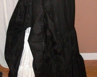 Black Cotton Maxi Skirt, Petticoat, Ten Yard Hem, Lagenlook, Steampunk, Pirate Wench, Victorian, Modest