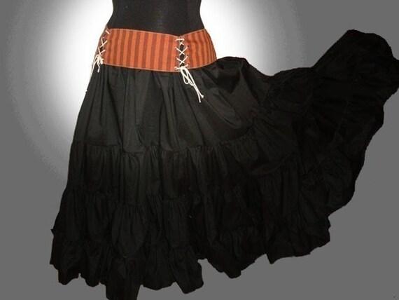 Maxi Skirt Black Cotton, Petticoat, Lagenlook, Steampunk, Western, Country, Bridal