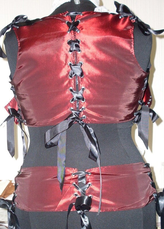 Your Size Burgundy Taffeta Underbust Corset Style Vest and Matching Corset Style Belt REAL Plus Sizes Available Women