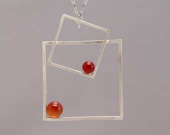 Square/Square Floating Shape Pendant with Carnelian