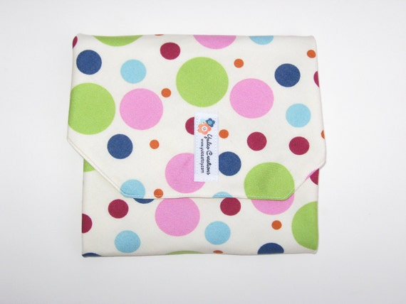 Reusable Sandwich Wrap and Placemat - Multi Colored Balls- White Lining