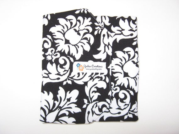 Reusable Sandwich Wrap and Placemat - White Flowers on Black