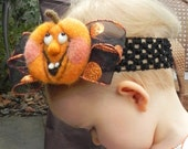 Perfect Halloween Black and Orange Pumpkin Hair Wreath ......Headband for Baby Girl Teen Young Adult ...Perfect Fall Autumn Costume and Photo Prop ...Waldorf Needle felted...FREE SHIPPING