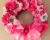 RESERVED for amaryllis21 ...Pink Heart Raggedy Ann Belindy Doll Wreath...Gerber Daisies and OOAK Cloth Rag Folk Art Doll