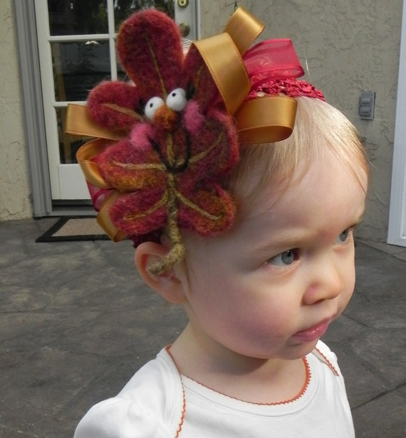 Thanksgiving Oak Leaf Headband Hair Wreath ......Baby Girl Teen Young Adult ...Perfect Fall Autumn Costume and Photo Prop