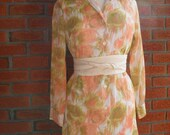 1960s High Fashion Mod Style Vintage Floral Dress With Peach,Green and White Coloring