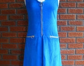 1960s Rich Blue Vintage Spring Corduroy Day Dress