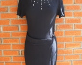 Black 80s Dress With Metal Accenting On Chest And Waist