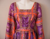 Unique Medieval/Old fashioned/Mary Antoinette/Costume Vintage Dress In Purple Orange And White