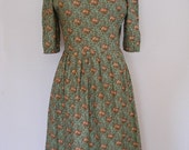 Handmade Vintage 50s Day Dress In Green With Orange And Brown Flowers