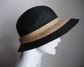 Vintage 50s Beach Spring Summer Straw Hat In Navy Blue And Cream