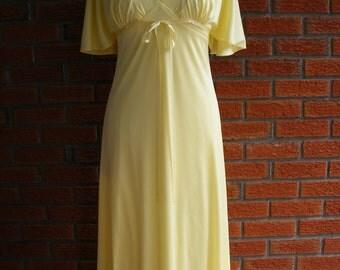 Vintage 1970s Boho Dress / Yellow Spring Summer Bridesmaid Wedding / Maxi Style Dress / Matching Crop Jacket
