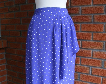 Purple And White Polka Dot 80s Skirt