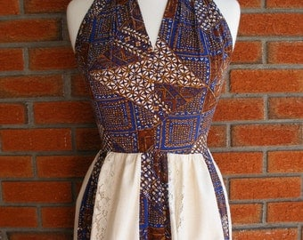 Hippie Boho Fashionable Vintage Halter Style Brown, Blue And Cream Vintage Spring Summer 70s Dress