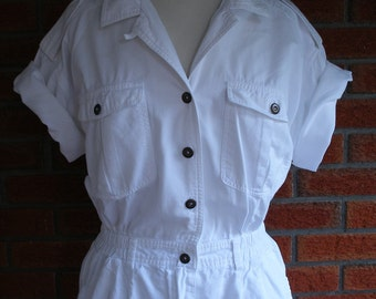 Sexy White Stylish Spring Summer Sailor Captain Nautical Vintage 80s Dress