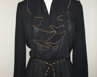 Black 80s Sheer High Fashion / Light Vintage Dress / With Gold Detailing