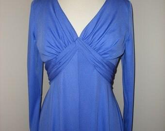 Beautiful Long Vibrant Blue Purple Vintage 70s Gown Dress