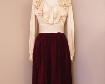 1950s High Fashion Classy Dress / In Vintage Cream Satin And Velvet Maroon Skirt / Winter Holiday Cocktail Dress