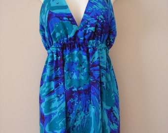 Vibrant Blue And Purple Vintage Spring Summer Hawaiian Dress